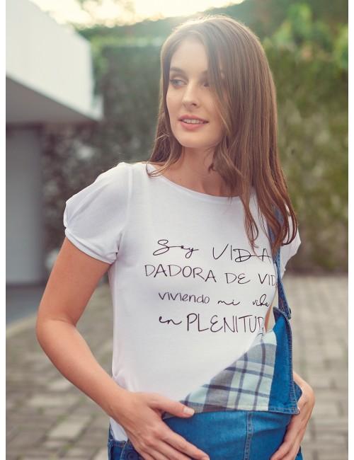 Camiseta estampada Dadora de Vida  con prenses
