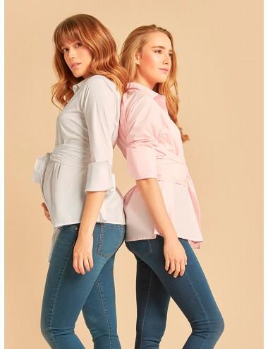 Camisa algodón manga larga con cinturon doble vuelta