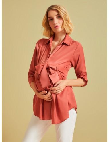 Camisa manga larga cinturón ancho