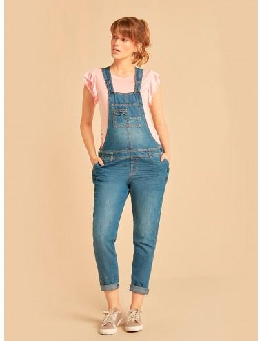 Overall en jean bolsillos con tapas