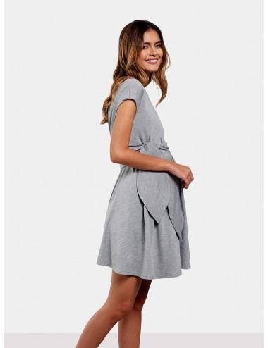 Vestido corto con cinturón hoja